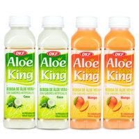 韩国进口 OKF 芦荟王优酸乳果味饮料 酸酸甜甜 椰子味 芒果味混合装500ml*4瓶 *2件