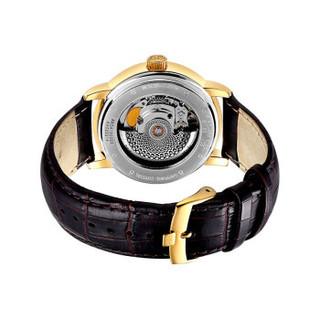 宇路(88 RUE DU RHONE)瑞士机械男表 商务皮带镀金手表87WA154213
