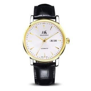 上海(SHANGHAI)手表 时尚真钻系列双历自动机械腕表男表 812双-2G白