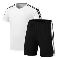 鳄铌特 运动套装男式夏季短袖t恤短裤套装休闲两件套纯色三条杠 *2件