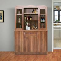 福立方酒柜客厅橱柜茶水柜碗柜 家用餐边柜厨柜餐厅柜子P2228 胡桃木色