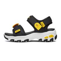 SKECHERS 斯凯奇 664118L 时尚休闲凉鞋 (黑色/黄色/BKYL、33.5码、女童)
