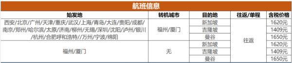 暑假错峰有票!全国多地-新加坡/吉隆坡/曼谷 往返含税机票