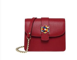 SANTA BARBARA POLO 圣大保罗 单肩包女牛皮女包时尚个性装饰小方包链条斜挎包包女士S86310147-1806W红色