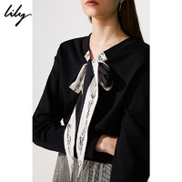 Lily 118410A8703 冬新款女装气质飘带短款黑宽松套头衫