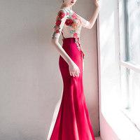 宴会晚礼服裙女气场女王高贵鱼尾长款名媛显瘦气质红色新娘敬酒服
