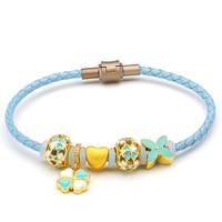 凤禧(Phoenisess)黄金转运珠 DIY心形皮绳手串
