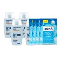 ISDIN 怡思丁 沁融水感防晒乳液 SPF50+ 50ml*4+ Balea 芭乐雅 Aqua海洋水动力面膜 4片