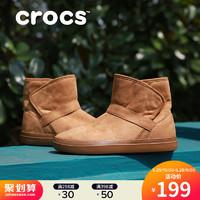 Crocs女鞋 卡骆驰冬季软底女士休闲洛基平底雪地靴短靴|204856