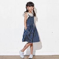 千趣会 女童荷叶边袖T恤+吊带连衣裙两件套装 110-150厘米