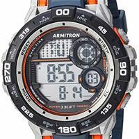 Armitron Sport 男士 40/8441NVY 橙色点缀数字计时码*蓝树脂表带手表
