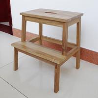 木巴家具 实木楼梯凳阶梯凳多功能厨房梯凳折叠家用台阶木梯凳梯子 原木色DZ013