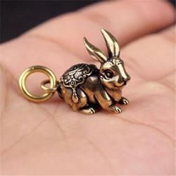 黄铜福兔挂件十二生肖兔子汽车钥匙扣福禄保平安