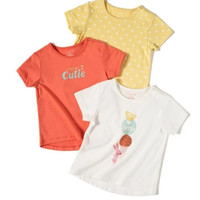 maxwin 马威 女小童短袖T恤 3件装