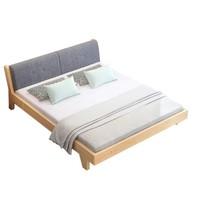 LANSHOME 兰秀 实木双人床 环保清漆+送床垫 1.8*2.0米