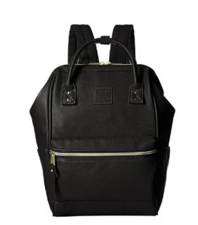 anello 阿耐洛 自营旗舰店 合成皮革钢圈定型双肩背包男女旅行包B1212黑色