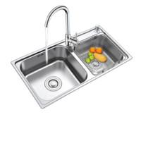 FUJIANG 福降卫浴 M-B2004(82)-D 厨房加厚水槽双槽套餐 (配大湾龙头送角阀)