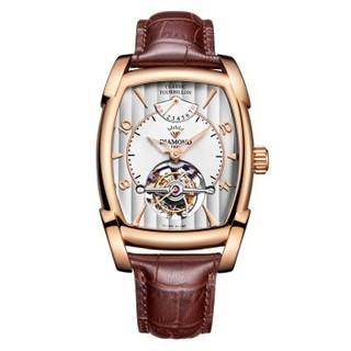 钻石手表 天轨系列酒桶形镂空陀飞轮男表手动机械表商务男式手表时尚腕表机械表男TR0100G玫壳白面棕皮款