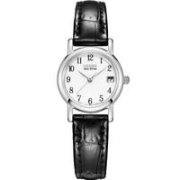 西铁城(CITIZEN)手表 光动能带日期小表盘牛皮表带简约女表EW1270-06A