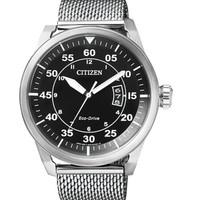 西铁城(CITIZEN)手表 光动能大盘日期窗简约男士腕表AW1360-55E