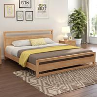 实木床 北欧日式实木床卧室家具双人床 原木色   无靠包 1800*2000(颜色备注)