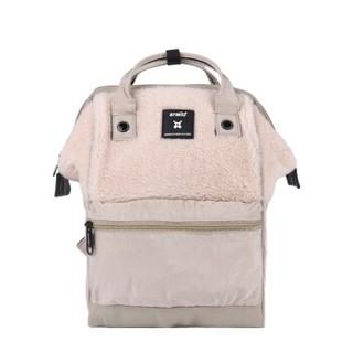 anello 阿耐洛 潮流时尚妈妈包高密短绒双肩背包B2932 象牙白色