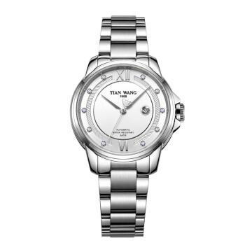 天王表(TIANWANG)手表 霏系列钢带机械表时尚女士手表30周年庆纪念款专柜同款钟表银色LS51034S.D.S.W