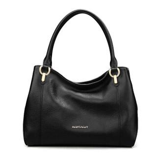 MONTAGUT 梦特娇 女包牛皮潮流大包时尚百搭单肩包女士斜跨手提包女士包包R5212113211黑色