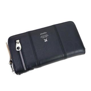 日本anello 日本潮流时尚圆弧拉链长款钱包D0691 黑色
