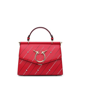 HONGU 红谷 女包欧美时尚手提包个性单肩包斜挎包女包牛皮包包 H5131566大红