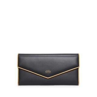 HONGU 红谷 钱包女时尚简约长款钱夹三折多功能皮夹小手包手拿包 H1154708漆黑
