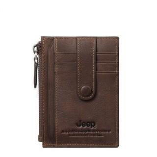 JEEP 吉普 双色牛皮卡包男薄款柔软大容量新品拉链防滑落卡包920010220啡色