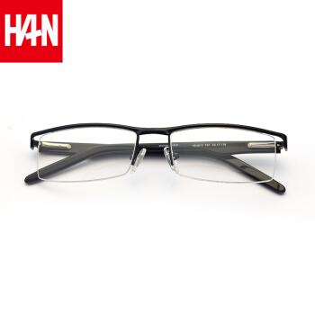 HAN 汉 HD4810 近视眼镜框架男款 (经典纯黑、19.00g、136mm、17mm、男性、53mm)