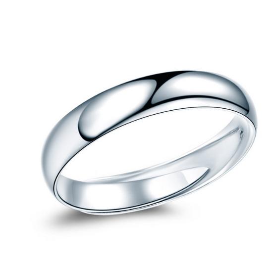 佐卡伊 Pt950铂金戒指女戒 经典简约光面光圈白金戒指男女款活口结婚求婚戒  W06573