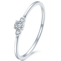 佐卡伊 18k金钻戒钻石戒指女款爪镶钻石戒指 Lucky Ring 白18K金 W06646