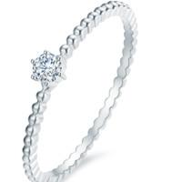 佐卡伊 18k金钻戒时尚简约女士钻石戒指幸运戒六爪爪镶钻戒 白18K金 5分 W06643