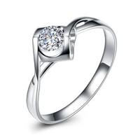 钻石凤凰 天使之吻18K金钻石戒指婚戒30分效果心形钻戒女  8号