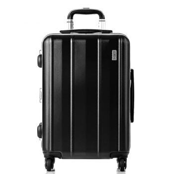 舒提啦 抗摔旅行箱铝框拉杆箱20英寸男女静音万向轮登机箱大容量行李箱纯pc硬箱子 碳晶黑
