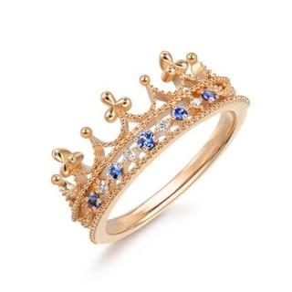 周生生 CHOW SANG SANG 18K金戒指红色黄金V&A系列皇冠蓝宝石戒指 女款 90599R18KR 11圈号