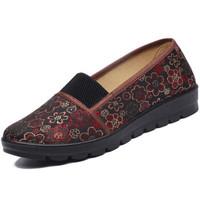 ANKANG 鮟鱇 妈妈鞋老人布面老北京奶奶鞋花朵套脚方便日常散步AK69013 红色 36