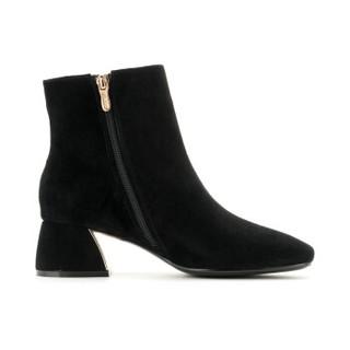 ST&SAT 星期六 专柜同款绒面羊皮革粗跟时尚短靴SS84116614 黑色2 36