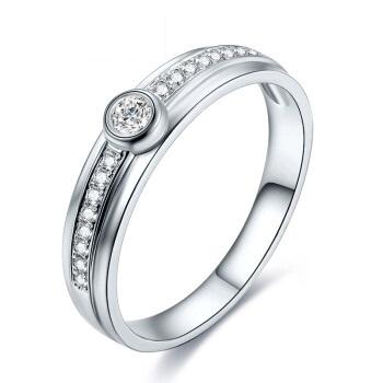 鸣钻国际 百年之约 PT950铂金钻戒女 白金钻石戒指结婚求婚女戒 情侣对戒女款