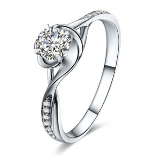 鸣钻国际 白18k金钻戒女 50分 钻石戒指结婚求婚女戒 情侣对戒女款 四爪豪华 F-G/SI 15号