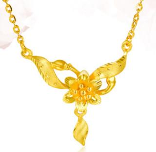 SUNFEEL 赛菲尔 TDB00071 黄金项链足金9999金吊坠花朵锁骨链 42cm