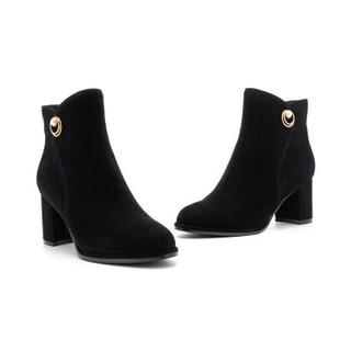 ST&SAT 星期六 专柜同款牛皮革/绒面羊皮革金属扣短靴SS84116697 黑色 37