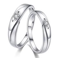 喜钻白18K金钻石情侣对戒结婚求婚钻石戒指