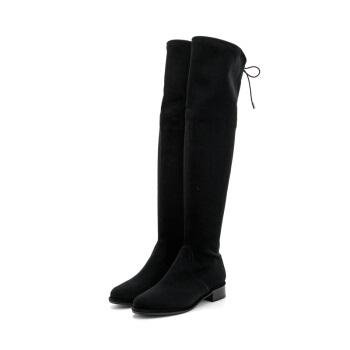 ST&SAT 星期六 专柜同款华丽绒布方跟圆头时尚过膝长靴SS74117723 黑色 38