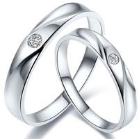 鸣钻国际 爱慕 白金钻石对戒 PT950铂金钻戒 结婚求婚戒指 情侣款