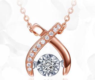 喜钻 J11227 18K金显钻锁骨链 6分 无色钻石 60cm
