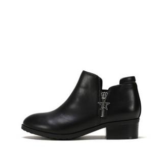 ShoeBox 鞋柜 粗跟绒面舒适休闲女靴 黑色115 35